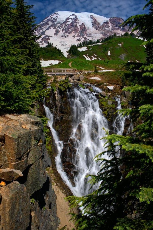 Mt Rainier Waterfall stock photo