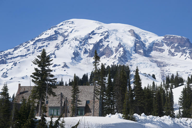 Mt Ranier Historic Ski Lodge royalty free stock photography