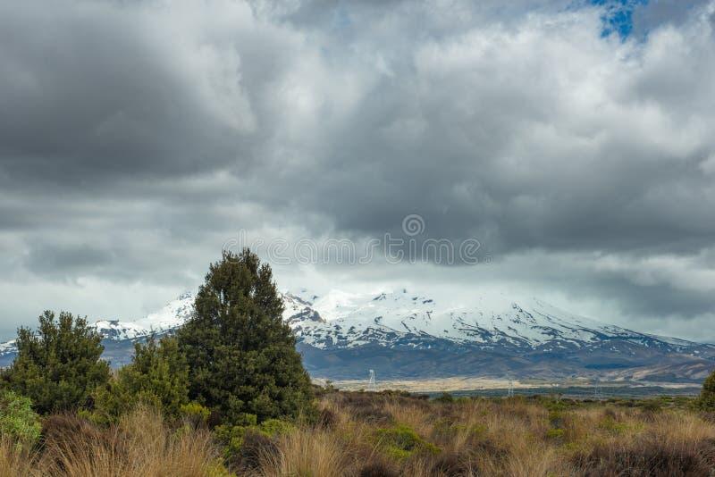Mt Ruapehu comme vu de la route de désert au Nouvelle-Zélande photographie stock