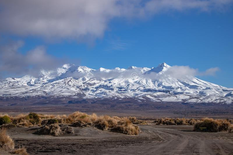 MT Ruapehu van de Woestijnweg die wordt gezien royalty-vrije stock foto's