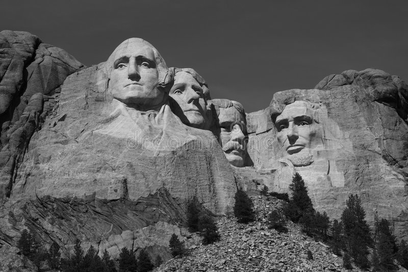 Mt. Rushmore - Black and White stock images