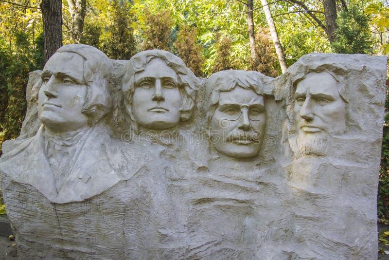 MT Rushmorebeeldhouwwerk van voorzitters miniatuurbeeldhouwwerk stock foto