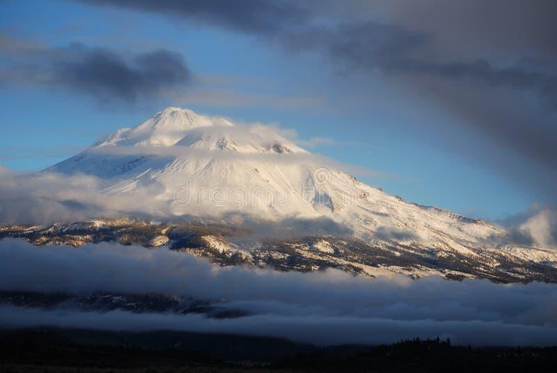 Mt. Shasta Clouds. Winter Clouds Surround Mt. Shasta stock photos