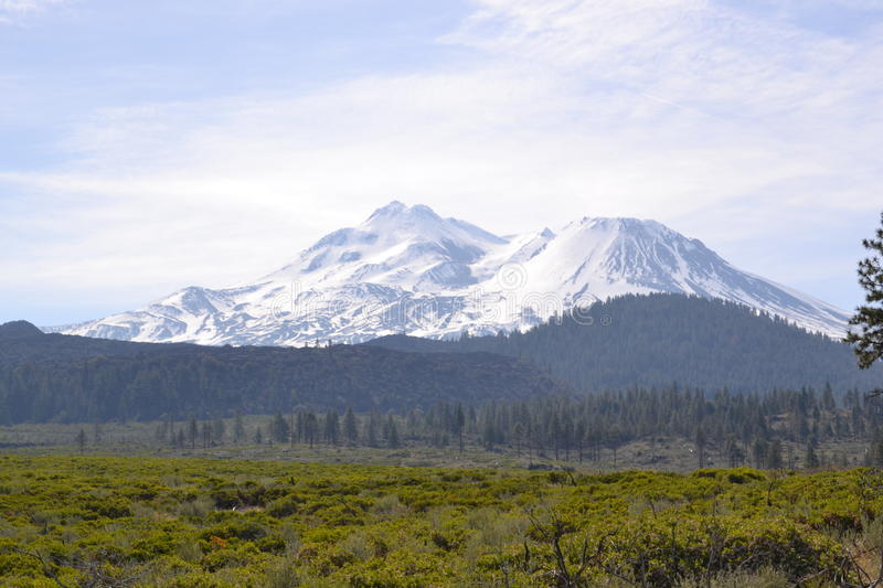Mt Shasta and hills royalty free stock photo