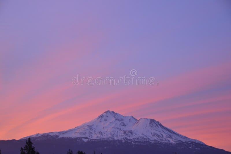 Mt Shasta sunrise stock photography