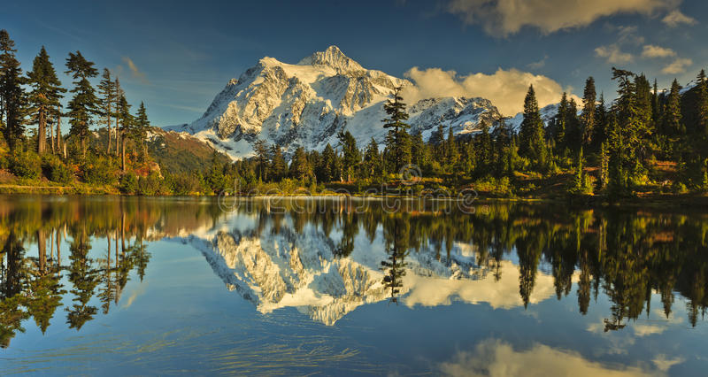 Mt. Shuksan. From Picture Lake in Mt Baker National Forest and North Cascade National Park stock photos