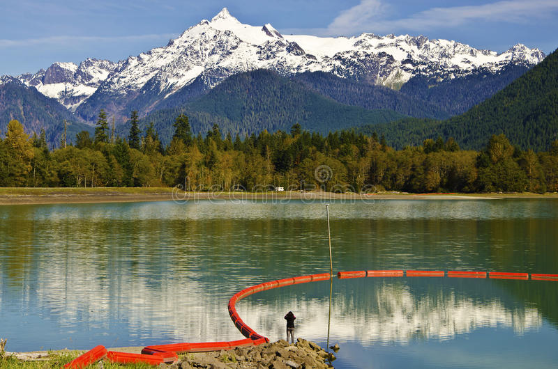 Mt Shuksan back view from baker Lake with Reflection. Mt Shuksan back view from baker Lake stock image