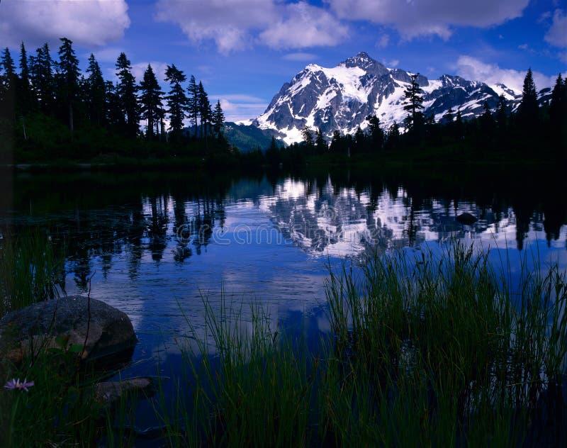 Mt. Shuksan del lago picture foto de archivo