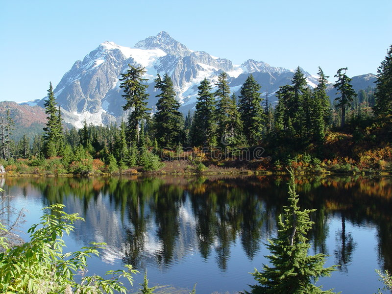 Mt Shuksan reflection stock photo