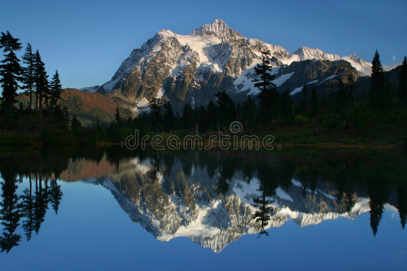 Mt. Shuksan Reflection. A beautiful reflection on Picture Lake of a snow capped Mt. Shuksan royalty free stock image