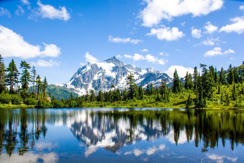 Mt Shuksan reflektierte sich am Picture See lizenzfreie stockfotografie
