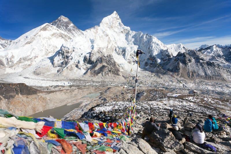mt-sikt washington Everest, Lhotse och Nuptse fotografering för bildbyråer