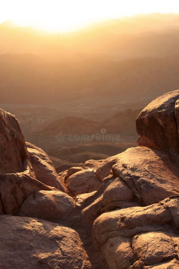 MT Sinai bij zonsopgang stock fotografie