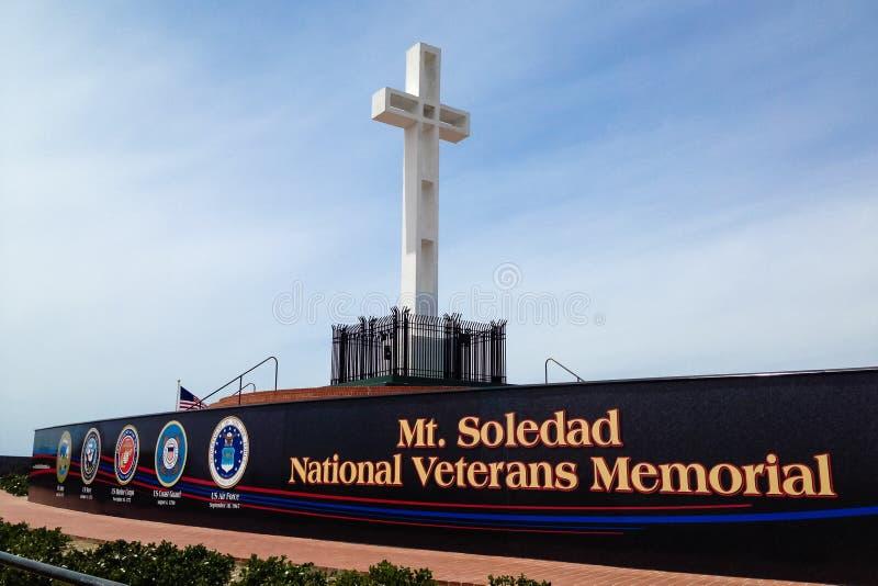 Mt Soledad National Veterans Memorial i La Jolla, Kalifornien royaltyfri bild