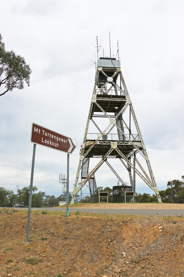 Mt Tarrengower poppet-head lookout, used as a fire-spotting tower since 1950, can be climbed to enjoy 360-degree views over Maldon royalty free stock photo