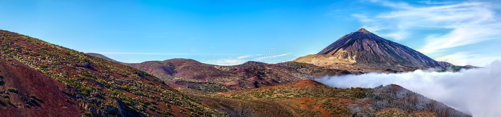 Mt teide. Volcano and clouds panorama royalty free stock photos