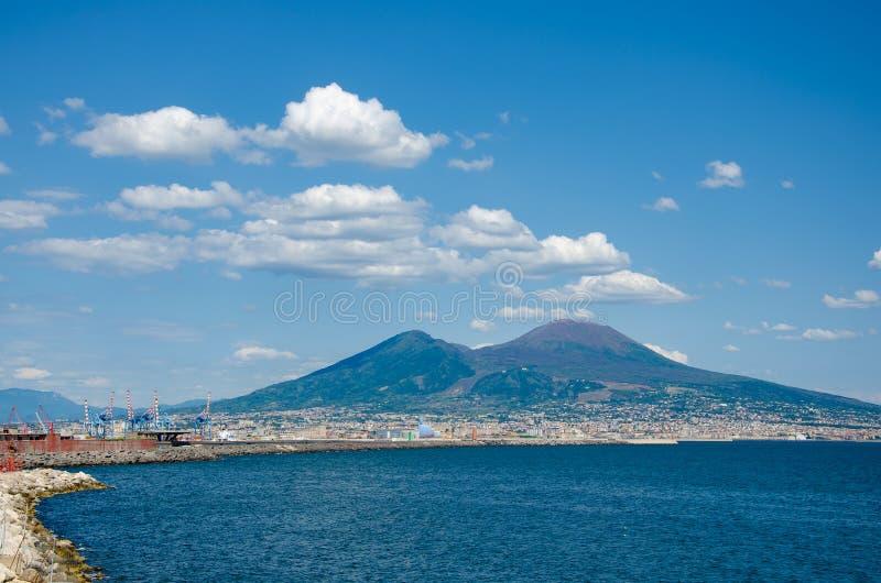 Mt Vesuvius over Tyrrhenian Sea in Naples. Travel destinations in Italy concept royalty free stock images
