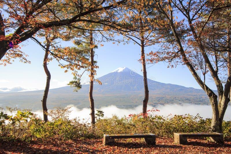 Mt Visad bakifrån Chureito Pagoda för Mt royaltyfria foton