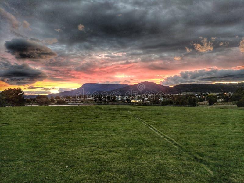 Mt Wellington Sunset fotografia stock