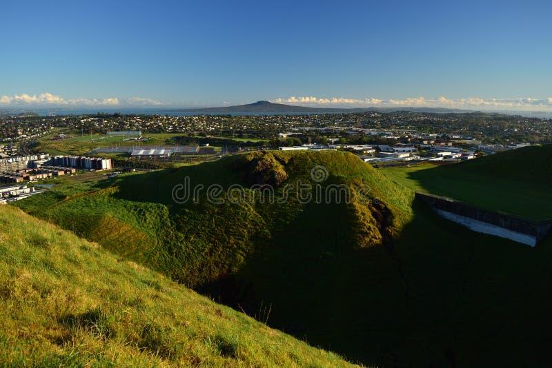 Mt Wellington wulkan w Auckland, widok od wierzchołka, Nowa Zelandia zdjęcie royalty free