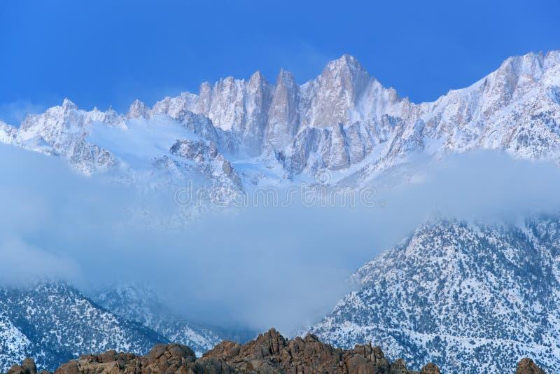 Mt. Whitney, Winter-Landschaft stockbild