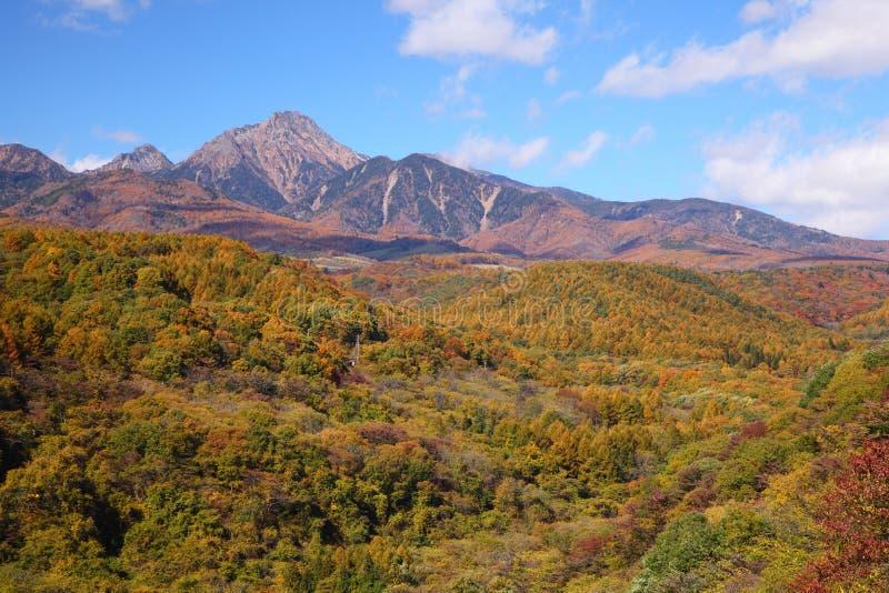 Mt. Yatsugatake in de herfst stock foto