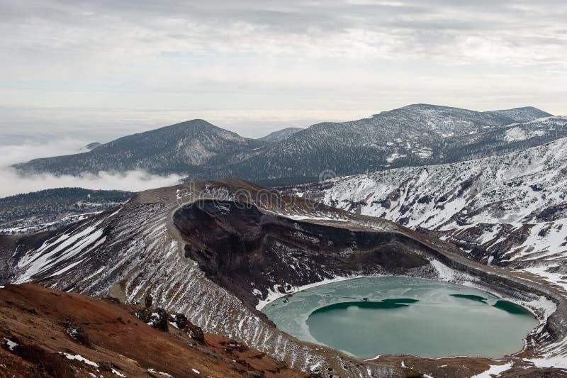 Mt. Zao and crater lake, Miyagi, Japan royalty free stock photography
