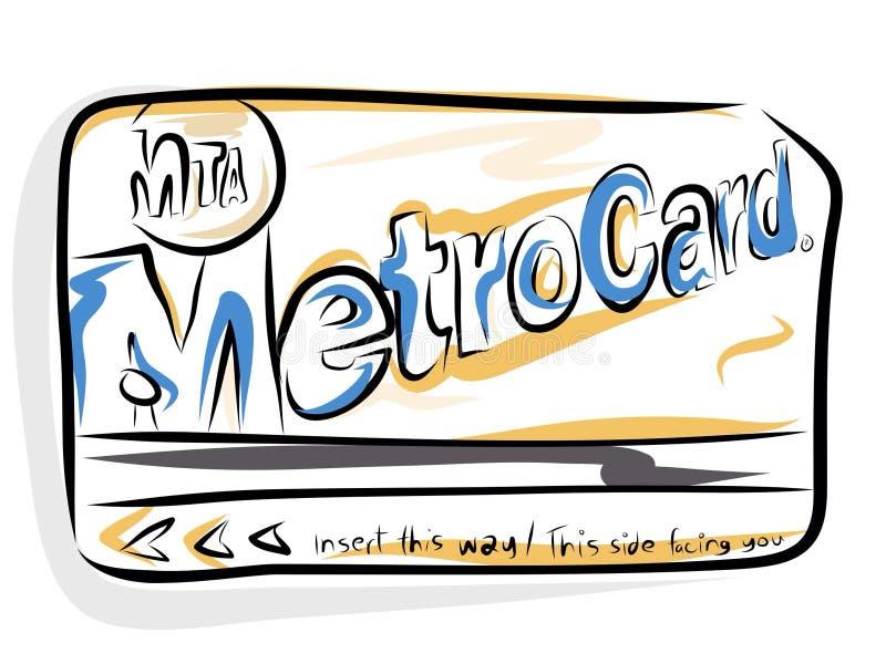 MTA Metrocard. New York City metropolitan transit authority metrocard in hand illustrated sketch clip art