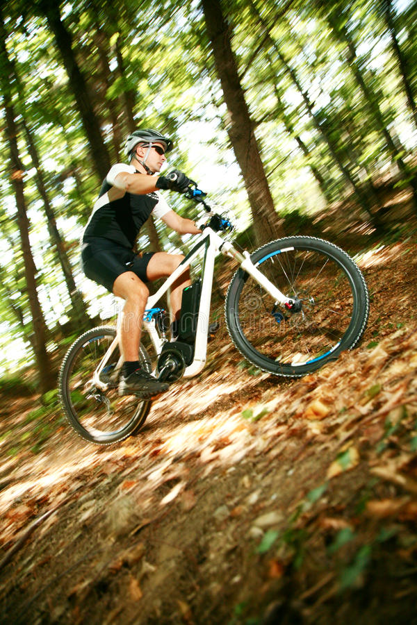 Mtb extreme. Biking downhill on hard tail royalty free stock photo