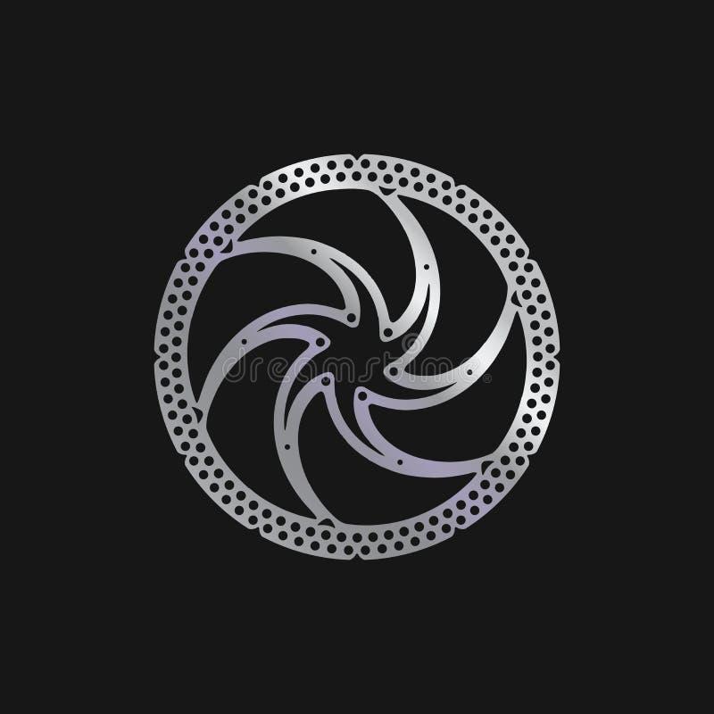 MTB-Fahrrad, Fahrrad-Bremsscheibe Realistische vektorabbildung lizenzfreie abbildung