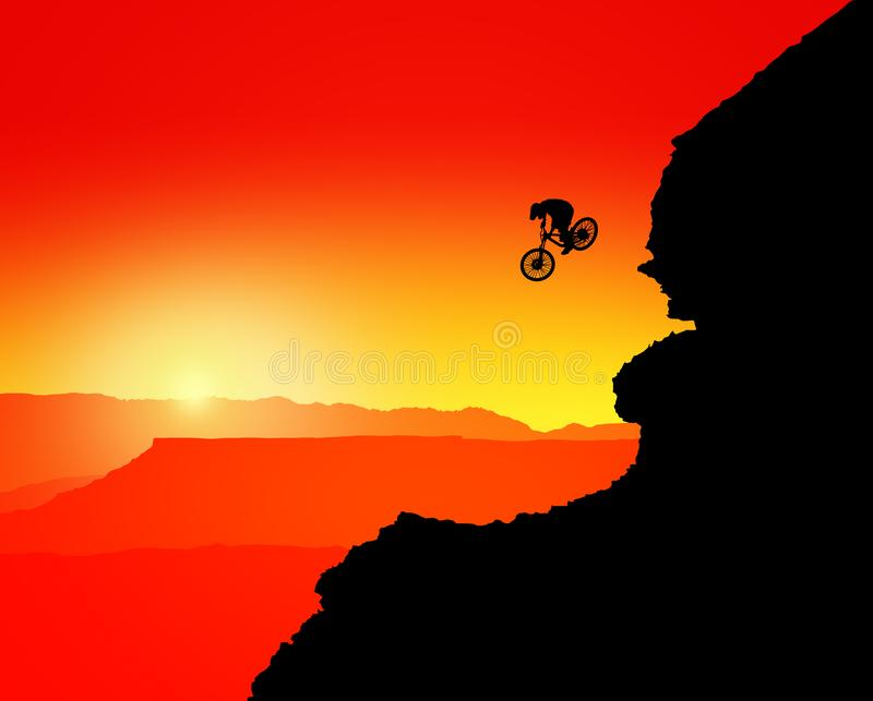 MTB / Mountain bike Downhill Backflip in the Mountains, landscape with the setting sun behind the mountains vector illustration