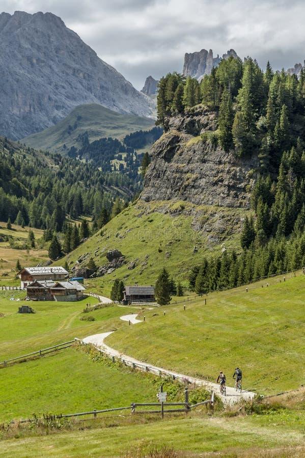MTBiking binnen in Val di Fassa royalty-vrije stock afbeeldingen