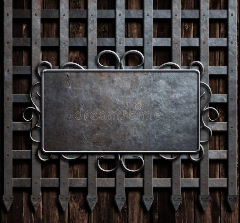 Mtealplaat op middeleeuwse kasteelpoort of muurachtergrond royalty-vrije stock foto