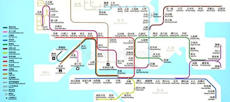 MTR-de Kaart van de Postroute in Hong Kong royalty-vrije stock fotografie