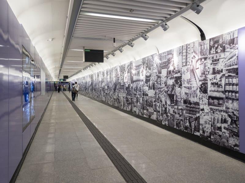 MTR Sai Ying kalambura staci grafika - rozszerzenie wyspy linia Zachodni okręg, Hong Kong obrazy royalty free