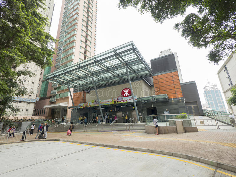 MTR Sai Ying kalambura staci wyjście C - rozszerzenie wyspy linia Zachodni okręg, Hong Kong fotografia stock