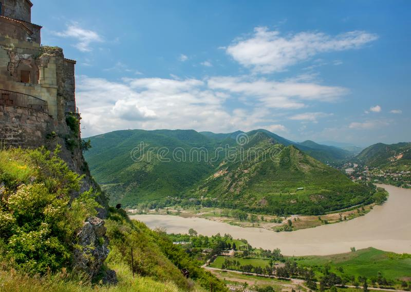 Mtskheta и монастырь Jvari стоковое фото rf