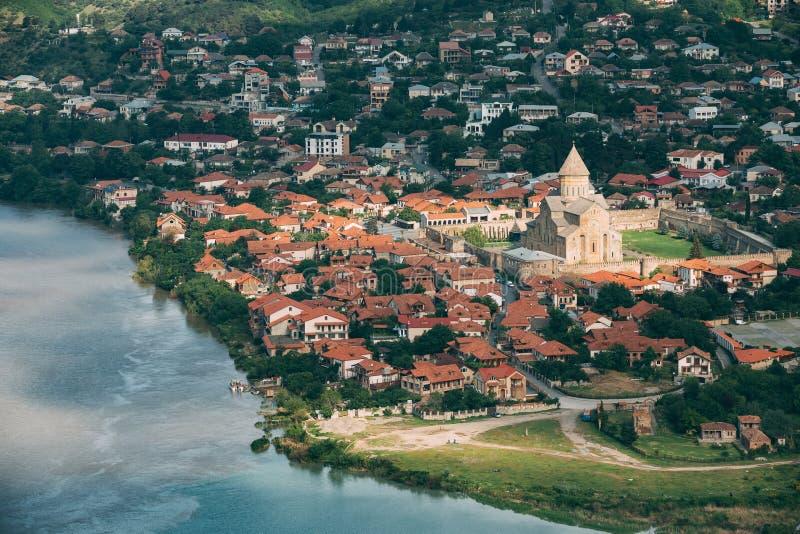 Mtskheta Georgia Взгляд сверху древнего города стоковое фото rf
