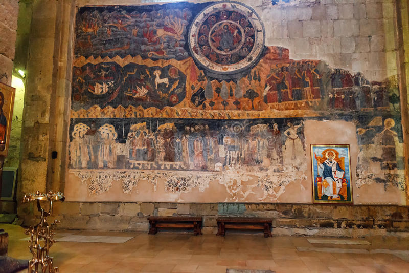 Mtskheta, Georgia - 4-ое октября 2016: закройте вверх зодиака в интерьере, соборе Svetitskhoveli правоверном стоковое фото
