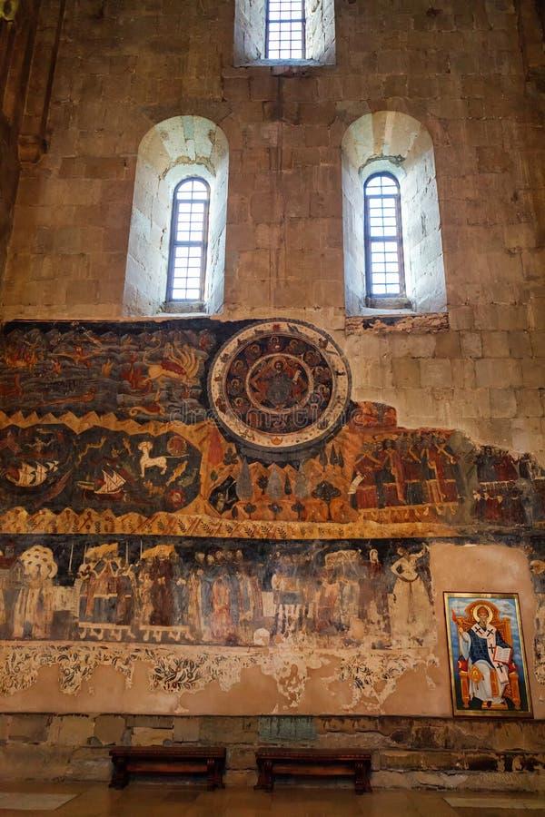 Mtskheta, Georgia - 4 de octubre de 2016: ciérrese para arriba de zodiaco en el interior, catedral ortodoxa de Svetitskhoveli foto de archivo libre de regalías