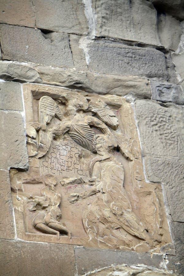 Mtskheta, Georgia. Georgian Orthodox Jvari Monastery. Images on the walls of the monastery. Mtskheta the ancient capital of Georgia. Georgian Orthodox Jvari stock image