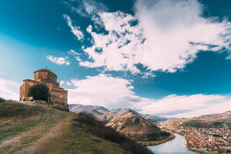 Mtskheta, Georgia. Jvari, Georgian Orthodox Monastery, World Heritage By UNESCO Ancient Temple. Town Located At Valley royalty free stock images