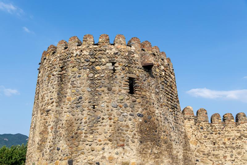Crenellated corner tower of the Svetitskhoveli temple complex royalty free stock image