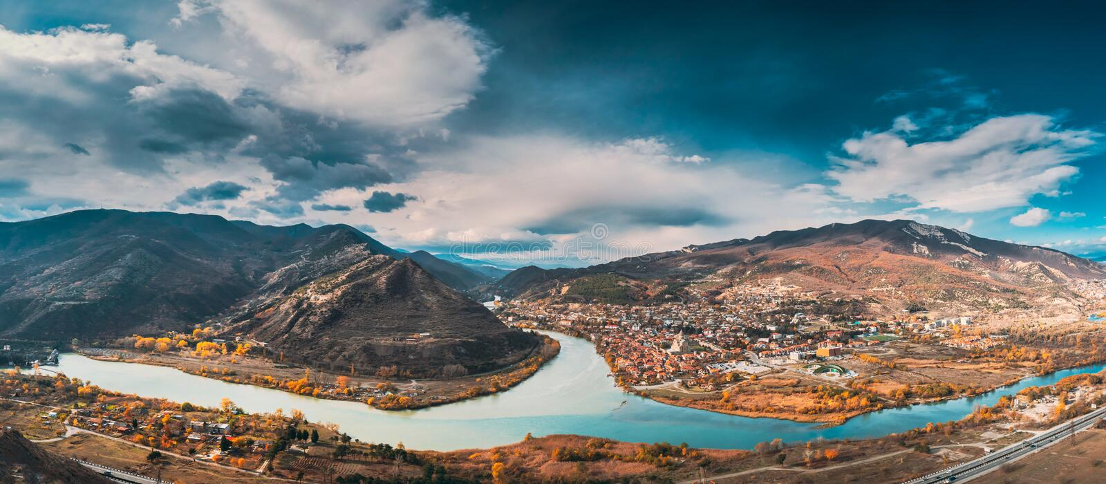 Mtskheta, Georgia. Top View Of Ancient Town Located At Valley Of Confluence Of Rivers Mtkvari Kura And Aragvi In royalty free stock image