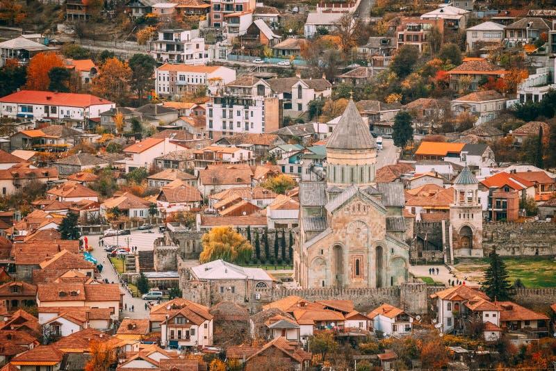 Mtskheta Georgia. Top View Of Ancient Town And Svetitskhoveli Cathedral During Autumn Day. UNESCO World Heritage Site stock image