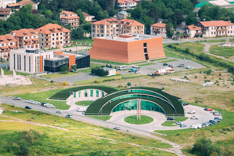 Download Mtskheta Georgia. Top View Of New Ultramodern Green Construction Stock Photo - Image of nobody, circle: 77310220