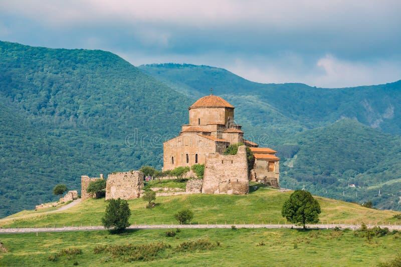 Mtskheta Gruzja Sceniczny widok Jvari, Gruziński Ortodoksalny Monast obrazy royalty free