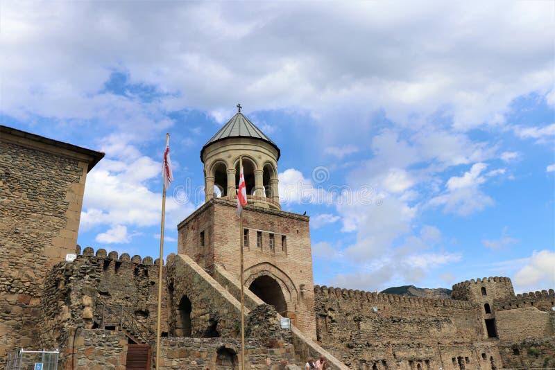 Mtskheta, Tiflis, Georgia Ansicht der UNESCO-Welterbestätte, Svetitskhovely-Kathedrale stockbild