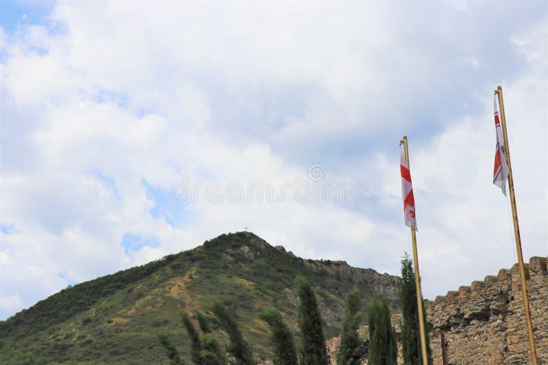 Mtskheta, Tiflis, Georgia Ansicht der UNESCO-Welterbestätte, Svetitskhovely-Kathedrale lizenzfreies stockfoto