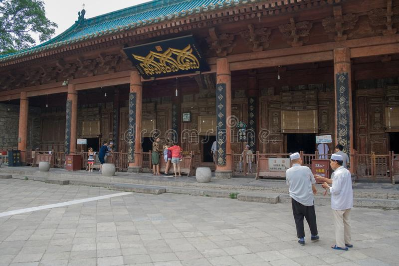 Muçulmanos chineses em torno de Xian Great Mosque A grande mesquita, situada no centro da cidade fotos de stock